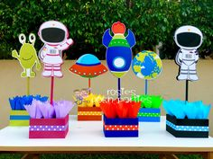 Outer Space Blast Off Centerpiece Decoration Spaceship Outer Planets Astronauts birthday party guest table centerpiece INDIVIDUAL PURCHASE Outer Space Party, Outer Space Theme, Rocket Birthday Parties, Birthday Party Themes, Birthday Blast, Party Centerpieces, Centerpiece Decorations, Space Baby Shower, Astronaut Party