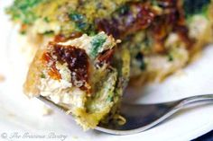 Clean Eating Pesto Quiche With Sun Dried Tomatoes - The Gracious Pantry. I want to try this with a quinoa crust (like the suggestion in the comments with couscous). Even with no crust, it's magnificent - if you don't like quiche, you'll still like this!