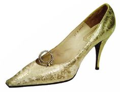 A brocaded and gold lamé shoe by Roger Vivier for Christian Dior, 1962.