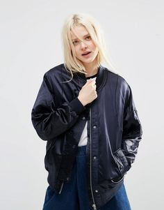 819a1a9b21632 Image 1 of ASOS Luxe Bomber Jacket In Satin Navy Bomber Jacket