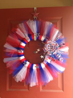 Red/White/Blue tulle wreath by Loveandstripes on Etsy