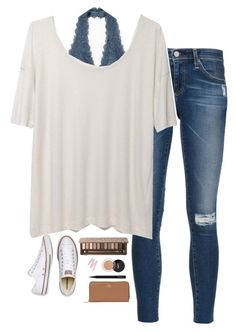 """School"" by halledaniella ❤ liked on Polyvore featuring Free People, AG Adriano Goldschmied, Urban Decay, T By Alexander Wang, MAC Cosmetics, Coach and Converse"