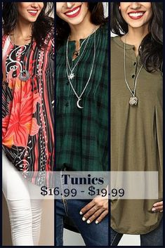 So many gorgeous colors and styles to choose from.  Hard to decide. Can be worn any season. #tunic #ladiestops #ad #ladiesclothes #oybpinners #050118