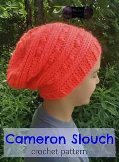 The Cameron Slouch features fun puff stitches and faux knits to create this unique look that's great for guys and gals both. $4.99 http://www.ravelry.com/patterns/library/cameron-slouch #crochet #slouch #hat