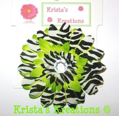 #C-Z01: Mini Lime Zebra Gerbera AB Rhinestone  Black Lined Alligator Clip #LimeGreen #Green #Zebra #Black #Layered #AuroraBorealis #Gerbera #Daisy #Flower #HairClip #Clip #AlligatorClip #KristasKreations https://www.facebook.com/KristasKreationsEtc