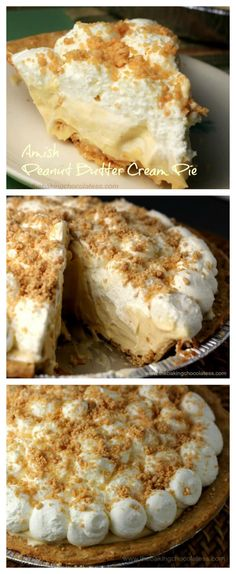 Amish' is referred to as being plain, but there is nothing 'plain' about this creamy, dreamy Amish Peanut Butter Cream Pie! Perfectly delectable! via @https://www.pinterest.com/BaknChocolaTess/