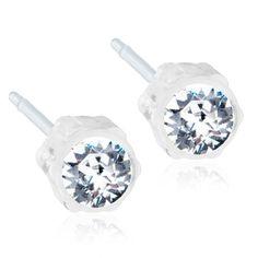 Hypoallergenic Stud earrings, 4mm White Swarovski Crystal Medical Plastic, (0% Nickel), By Blomdahl.