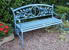 lovely garden bench in forged metal with rose detail