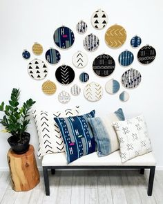 African Mudcloth Gallery Wall Hanging Decor Set, Wood Circle Frames Various Sizes, Modern Boho, Authentic Vintage Textile Art 5 Pieces African Mudcloth Gallery Wall Decor Set Wood by FigmentAndFiber Wall Decor Set, Art Decor, Fabric Wall Decor, Decor Ideas, Unique Wall Decor, Wall Ideas, Framed Fabric, Cheap Home Decor, Diy Home Decor