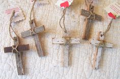 Set of Five  Rustic Vintage Recycled Wood Cross Ornaments - 3 inches - 70 YEAR OLD WOOD. $12.00, via Etsy.