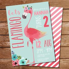 Flamingo Party Invitation for girl's party or Summer party - This gorgeous combination of coral pink and light aqua blue with a beautiful Flamingo makes a stunning invitation for a girl's birthday or a gorgeous summery themed party. For that touch of gla Flamingo Rosa, Pink Flamingo Party, Flamingo Birthday, Pink Flamingos, Girl Birthday, Birthday Ideas, Summer Party Themes, Birthday Party Decorations, Party Ideas