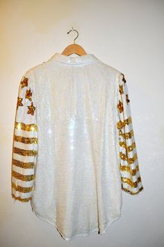 Vintage Sequined White and Gold Evening Jacket