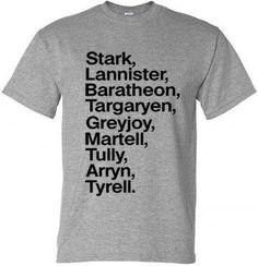 Game of Thrones Stark Lannister Unisex Women's or by parenholly Game Of Thrones Facts, Game Of Thrones Shirts, Game Of Thrones Quotes, Game Of Thrones Funny, Ser Jorah Mormont, Game Of Thones, The North Remembers, Nerd, Got Memes