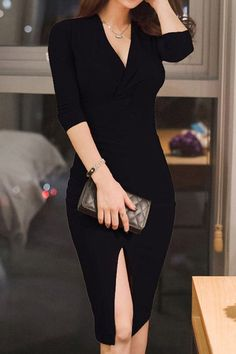 Attractive Solid Color V-Neck 3/4 Sleeve Slit Bodycon Dress For Women