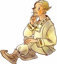 Nuori Joukahainen istuskelee ja näyttää kovasti jotakin pohtivan.