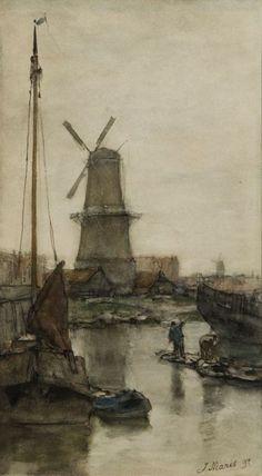 Jacob Maris - Landschap met molen
