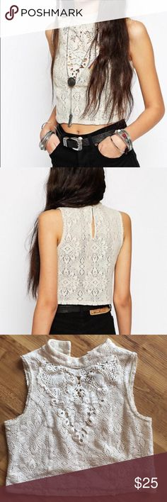 d42bebab609cd5 Free People Ivory Greatest Hits Crop size XS Note  Buttons missing High  Neckline