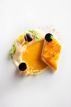Pan-seared halibut in carrot-ginger broth