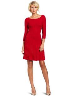 Bcbgmaxazria Women's Cable Dress With Ribbing, Rio Red, Small