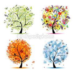 Cuatro estaciones - primavera, verano, otoño, invierno. árbol de arte hermoso para tu — Ilustración de stock #4186471