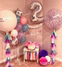 Ideas For Party Kids Decoration Tutus 2nd Birthday Party Themes, Baby 1st Birthday, Unicorn Birthday Parties, Birthday Balloons, Unicorn Party, Balloon Decorations, Birthday Decorations, Birthday Pictures, First Birthdays