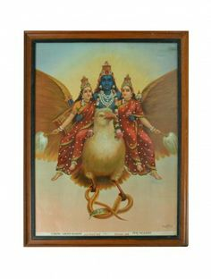 Vishnu-Garud Wahan Oleograph - Raja Ravi Verma #art #painting #decor  www.jaypore.com