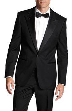 It's a black tie affair. BOSS Black 'Grant' Regular Fit Tuxedo #wedding