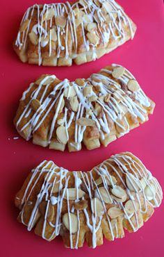 I made these bear claws before. These ones are just as yummy though. Breakfast Cake, Breakfast Recipes, Breakfast Ideas, Bear Claws, Bread Rolls, Paleo Diet, Almond, Bakery, Sweet Treats