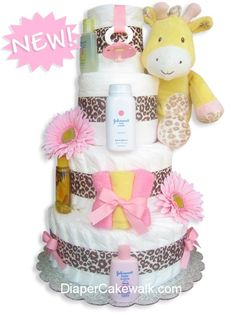 pictures of diaper cakes for girls | Striped Safari Pink Diaper Cake