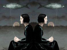 "Daria Petrilli ""Siamese dream"" - (Fish on a Leash) Daria Petrilli, Siamese Dream, 7 Arts, Surrealism Painting, Art Textile, Italian Artist, Illustrations, Art Studies, Surreal Art"