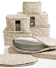Homewear Fine China Storage Set 8 Piece Hudson Damask  sc 1 st  Pinterest & Make your own quilted china and dish storage containers - lots of ...