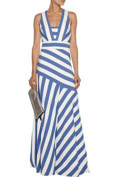 Asymmetric striped canvas maxi dress   Milly   IL   THE OUTNET. Designer  KleiderStreifenkleidOutlets c0479df657