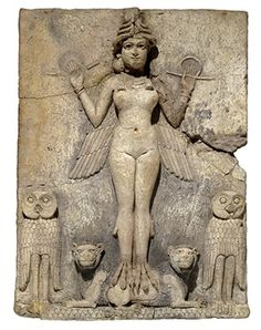 """presentpasts: """"The Queen of the Night - a plaque showing a Mesopotamian goddess, possibly Ishtar (goddess of sexual love and war) or Ereshkigal (goddess of the underworld). Baked straw-tempered clay, B. At the British Museum,. Ancient Demons, Ancient Symbols, Ancient History, Ancient Artifacts, British Museum, Ishtar Goddess, Goddess Of The Underworld, Ancient Mesopotamia, Ancient Civilizations"""