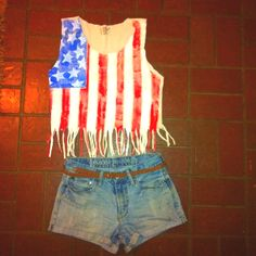 Happy 4th Y'all! Complete DIY outfit. Used my boyfriends old work jeans to make high waisted cut offs. Painted one of his old torn up t's and added fringe! So easy and I didn't spend any money on materials!