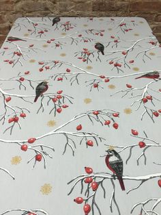 Tablecloth gray with red-breast and rose hip, gold snowflakes, Scandinavian design by SiKriDream on Etsy