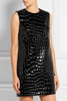 Miu Miu | Croc-effect faux patent-leather mini dress | NET-A-PORTER.COM