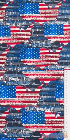 cotton fabric with USA maps in stars and stripes flag blue, white, red design, dark grey USA national anthem music score and text Star Spangled Banner #Cotton #FamousPlaces #Landmarks #Retro #USAFabrics Star Spangled Banner, National Anthem Music, Music Score, Retro Fabric, Red Design, Famous Places, Usa Flag, Fabric Patterns, Usa Maps