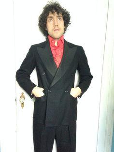1930's Vintage Men's Double Breasted Tuxedo high waist trousers  medium