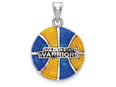 LogoArt Sterling Silver Golden State Warriors Golden State Warriors Basketball Enameled Pendant Necklace - Chain Include