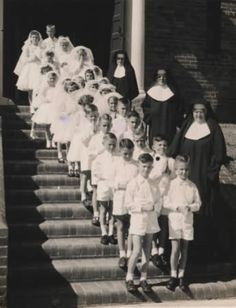 First communion group in the 1950s with Srs Celine, M. Jarlath and M. Vianney.
