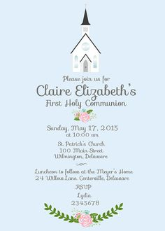 First Holy Communion Invitation Girl Printable