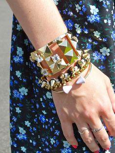 @Sorrelli Jewelry Peek A Boo Stud Cuff, @Ettika black and white bracelet, and @BaubleBar purple cuff #armparty #jewelry