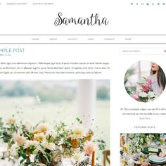 Samantha WordPress Theme by Bites to Brand. Feminine and Elegant WordPress theme perfect for bloggers and photographers that want to showcase their work in a stylish way.