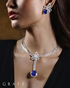"""Graff """"Twombly"""" Diamond Necklace with a detachable 32 ct. cushion cut Burmese Sapphire Graff """"Twombly"""" Sapphire and diamond Earrings Bow Jewelry, High Jewelry, Jewelry Art, Jewelry Design, Jewlery, Sapphire And Diamond Earrings, Blue Sapphire, Stone Necklace, Bling"""