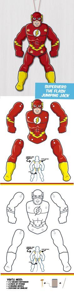 Create your own Superhero Puppet - The Flash! Paper Puppets, Paper Toys, Paper Crafts, Superhero Classroom, Superhero Party, Create Your Own Superhero, Heros Comics, Jumping Jacks, The Flash