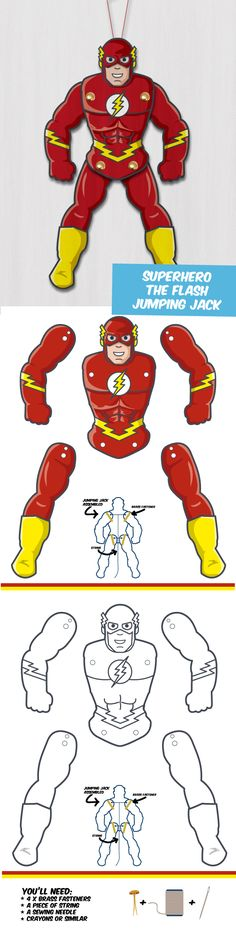 Create your own Superhero Puppet - The Flash! Great DIY papercrafts