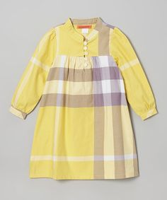 Another great find on #zulily! Yellow Plaid Button Swing Dress - Toddler & Girls by Funkyberry #zulilyfinds