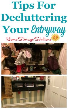 Tips for decluttering your entryway of your home, to make it more functional and clutter free {featured on Home Storage Solutions 101}