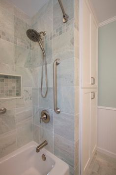 Ming Green Marble Tile Bathroom Traditional With Brushed Stainless Delta Shower