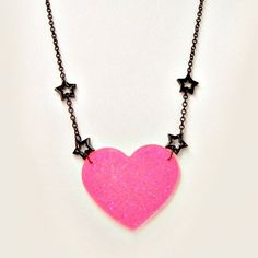 Pastel Goth Necklace Kawaii Black Stars Chain Hot Pink Heart ($12) ❤ liked on Polyvore featuring jewelry, necklaces, accessories, pastel goth, black necklace, heart shaped pendant necklace, circle pendant, star pendant necklace and star pendant